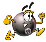 Clip Art Graphic of a Billiards Eight Ball Cartoon Character