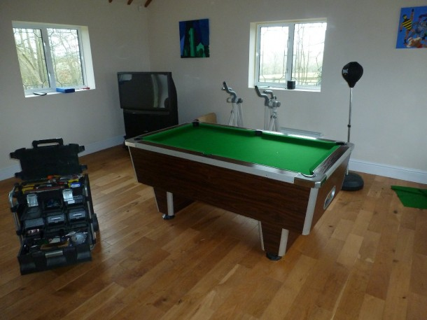 pool table down in new room