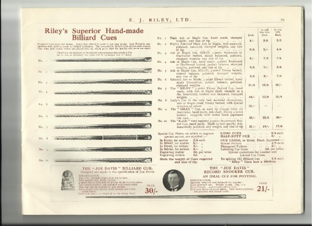 Riely catalogue cue price's 1937