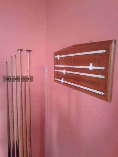 Riley modern cue rack and scoreboard