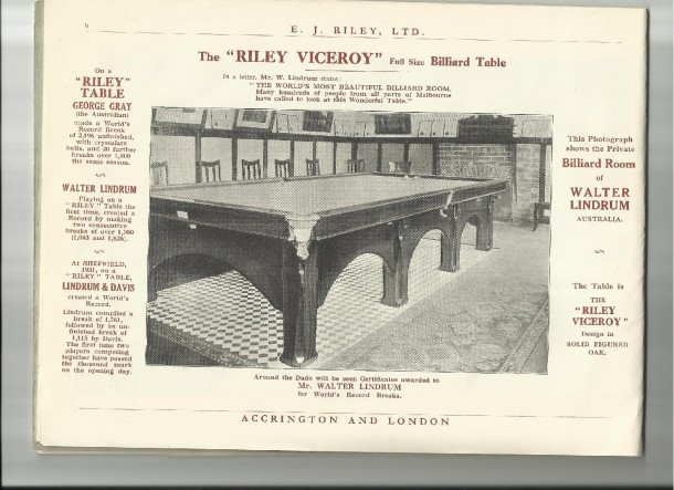scan of walter lindrum's Riley Viceroy