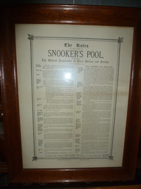 snookers pool rules framed in oak