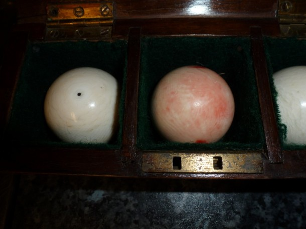 ivory billiard set left close up .