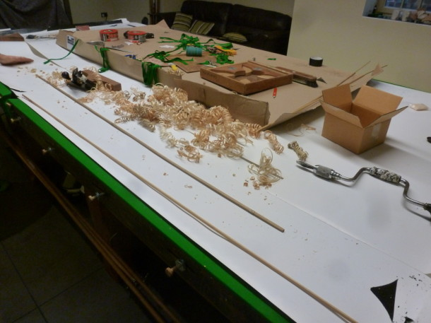 Kirkham shavings with slips on table