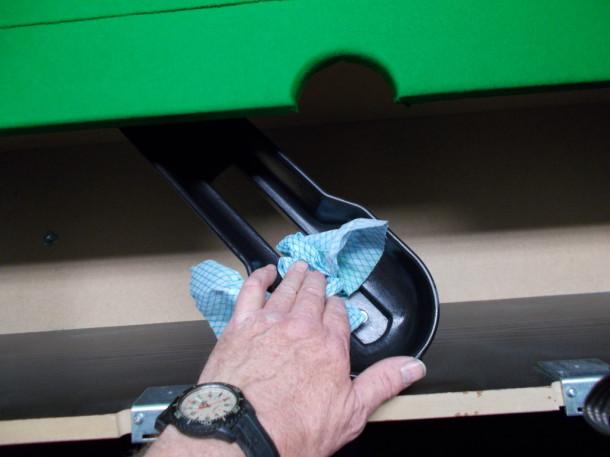 stapleford pool wipe down ball rails june 2015