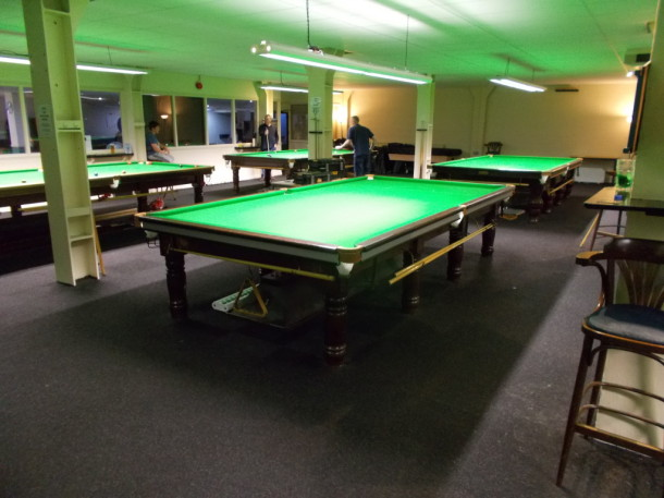 cue ball derby 2nd recover with new cushions fitted silver panels july 2015
