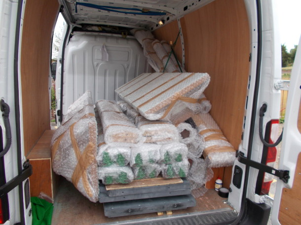 rushcliffe tables and shades on van