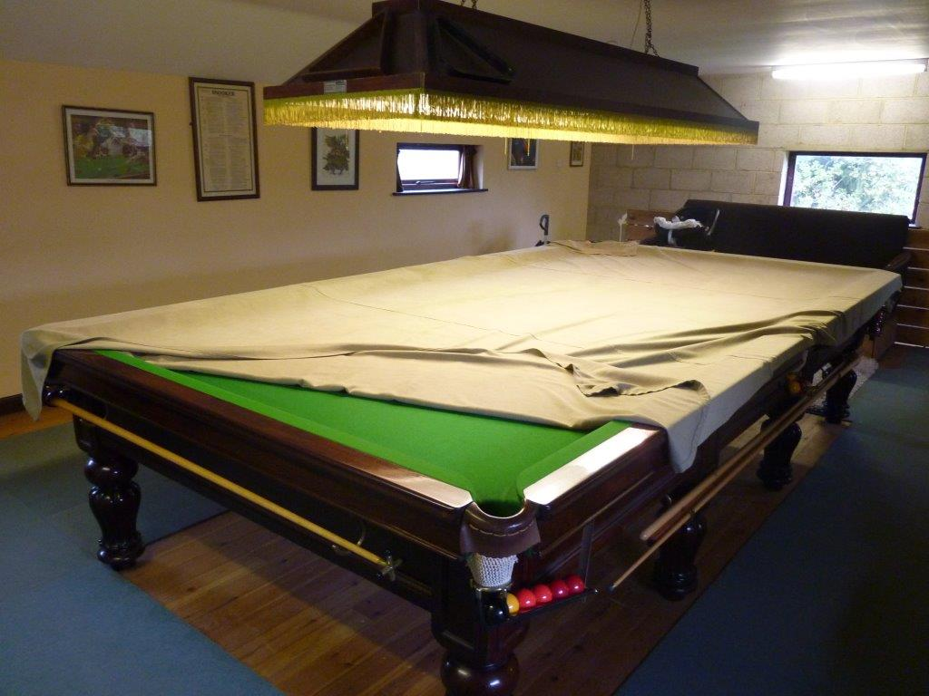 Full Size Orme Snooker Table For Sale In Derby , With Victorian Life Pool  Scoreboard And Rotating Cue Rack Also Later Framed Rules .