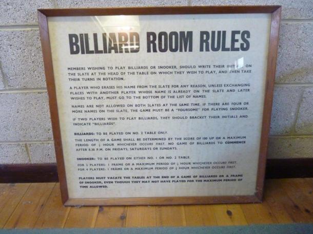 mickleover tulip , old billiards sign rule