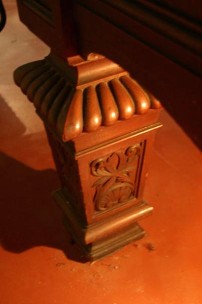 Thurston table oak leg carved martin close up