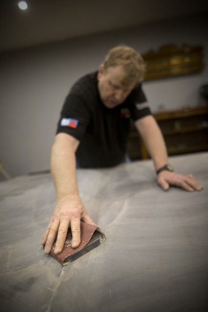 Geoff Wales sanding joint filler