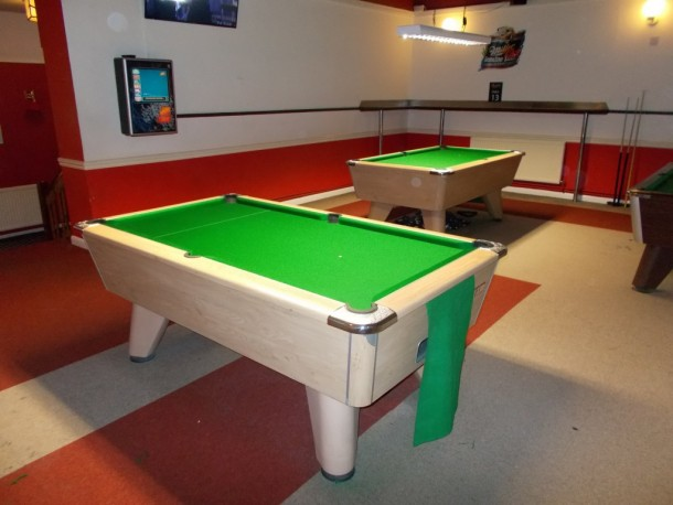 Coopers well two pool tables re-covered oak