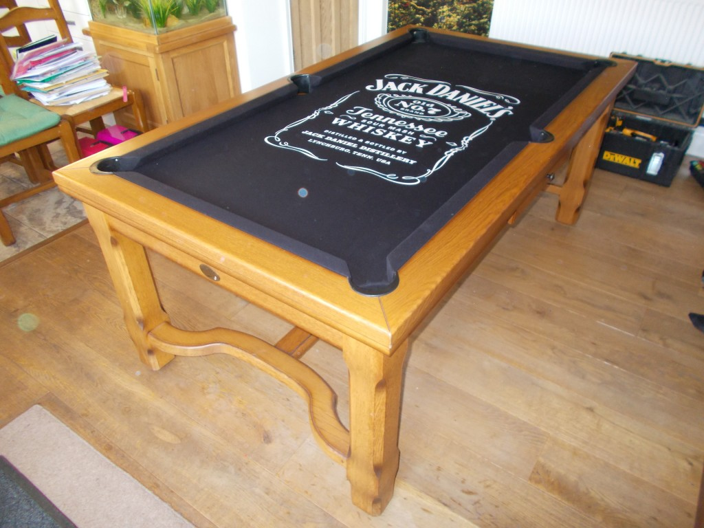 Fitted Customers Own Cloth On His Pool Table With Jack Daniels Logo - Jack daniels pool table