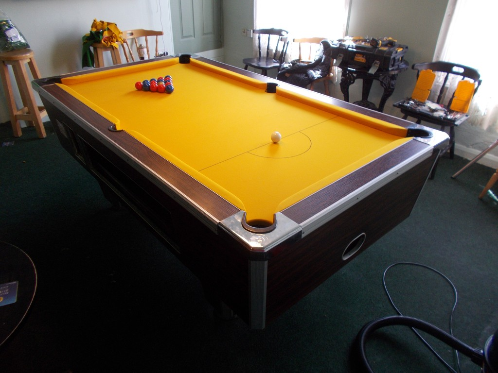 King billy finished table D end & Pool table re-cover in Special order Bright golden Yellow smart ...