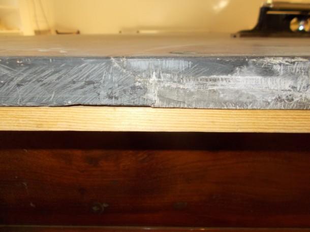 Melton 9ft  bad crack in slate from edge