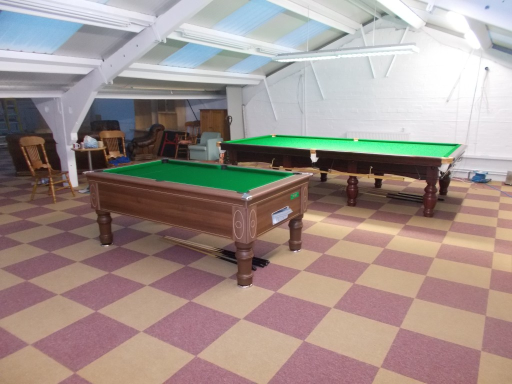 Full size Riley Aristocrat Tournament Snooker table set up