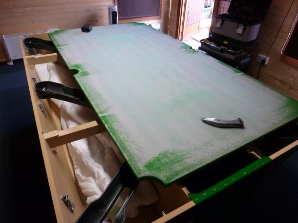 overspray glue on pool slate