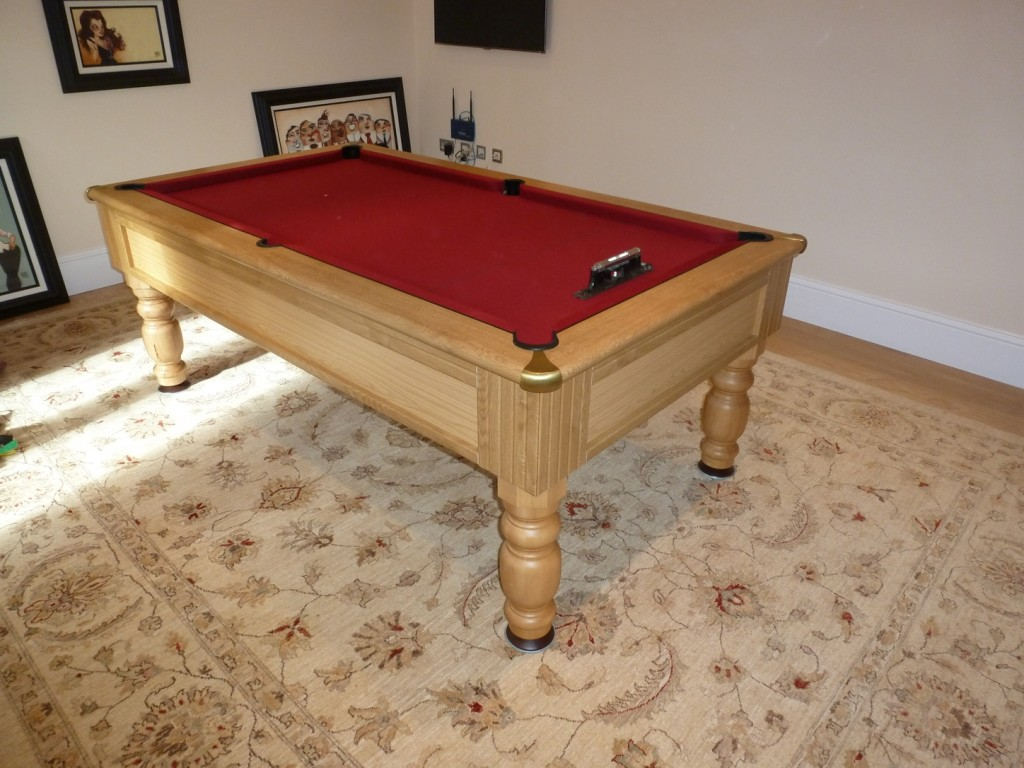 Pool table water damage re cover and polish cabinet for for Pool table house