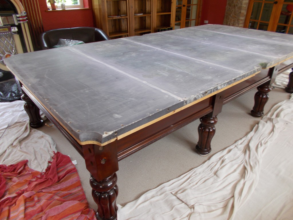 Three days in cornwall setting back up full size snooker - Slate pool table ...
